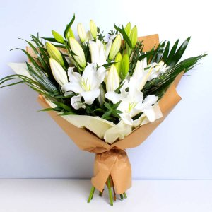 White Lily Bouquet Wrapped